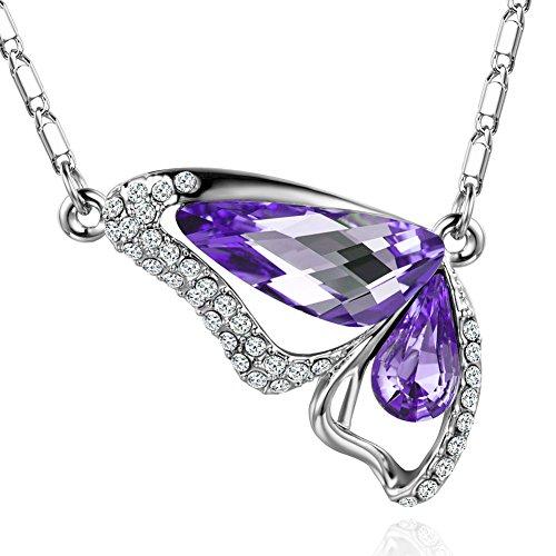 MURTOO Bijoux Femme Sautoir Collier Pendentif forme Papillon par Cristal Swarovski Elements Violet