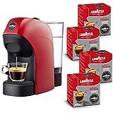 Lavazza A Modo Mio Tiny Macchina caffè, 1450 W, 0.75 Litri, 15 bar, Rossa con 64 capsule Lavazza Qualità Rossa incluse