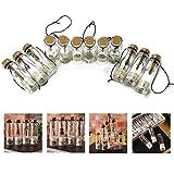 Itian Vintage Retro Wishing Flasche Mini glas mit Korkverschluss und antiken Bronze Anhängern im Inneren(12 Stück)