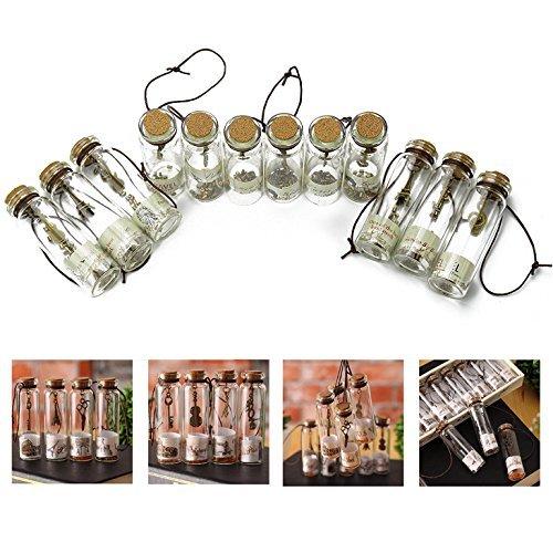 Itian Vintage Retro Wishing Flasche Mini glas mit Korkverschluss und antiken Bronze Anhängern im...