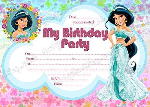 Mädchen Disney Prinzessin Jasmin Geburtstag Party Einladungen, Prinzessin Jasmin Party X 8Karten DS2+ kostenlose Umschläge (Party Geburtstag Jasmin)