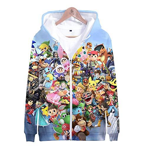 Smash Kostüm Alle Bros - Kapuzenpullover,Super Smash Bros Man Beiläufige Hoodies Pullover Langarm 3D Pullover Sweatshirts Lust auf Hoodie mit @ Anime_XS