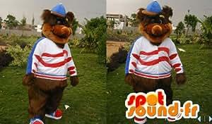 Mascotte SpotSound Amazon personnalisable d'ours marron tout poilu, avec une casquette
