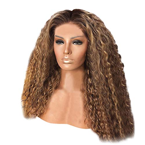 d States hot new wig female African black small curly hair mixed brown long curly hair dyed chemical fiber hair wig ()