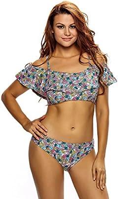 Nuevas señoras floral impresión de volantes capas Tankini Set 2pcs Swimwear Beachwear verano desgaste tamaño XL UK 12-14EU 40-42