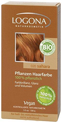 LOGONA Naturkosmetik Coloration Pflanzenhaarfarbe, Pulver - 020 Sahara - Rotblond, Natürliche & pflegende Haarfärbung (100g) (Henna Kommen)