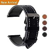 Fullmosa Ersatz Armbänder für Uhr in 4 Farben, Wax Series Echtes Leder Uhrenarmband/Wactch Armband/Replacement für 22mm,Schwarz+ Rauchgraue Schnalle