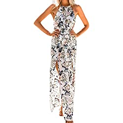Sunenjoy Robe Femme Chic été 2018 Longue Bohême Longue Maxi Soir Fête Plage Robes Vêtements Pas Cher a la Mode (M, Blanc)
