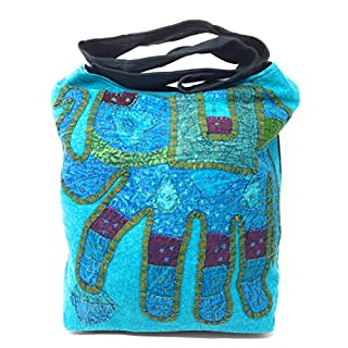 AGAS OWN Umhängetasche Stoffbeutel Schultertasche Beuteltasche Freizeittasche mit Reißverschluss AG-11 (Türkis)