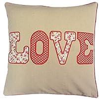 Imbottito con amore in lino e cotone 45,72 cm ricamato cuscino floreale a pois