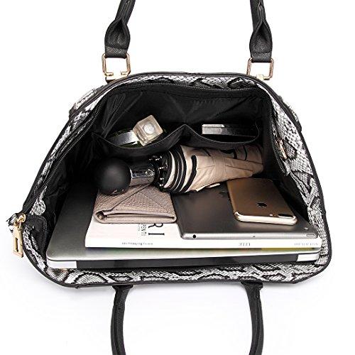 Miss LuLu Damentasche Bürotasche Handtasche Winged Tote Bag Schultertasche Groß Elegant PU-Leder LT1703-Schwarz