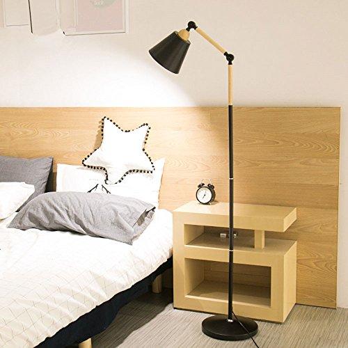 Nordic Lampadaire en fer forgé minimalis du bois Élément Salon Lampadaire réglage de l'angle Liseuse Chambre Lampadaire E27(non incluses) noir