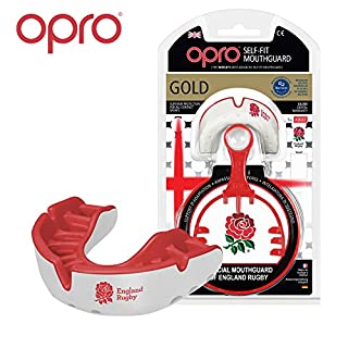 Opro Gold Level Adult Self Fit Mouth Guard Gum Shield For Rugby, Boxing, UFC, Lacrosse, Basketball, MMA, Football, Hockey, Contact Sports INCLUDES BOX - 18 Month Warranty (RFU Red/White)
