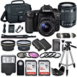 Canon EOS 80D Wi-Fi Full HD 1080P Digital SLR Camera With Canon EF-S 18-55mm F/3.5-5.6 IS STM Lens + 2pc SanDisk 32GB Memory Cards + Accessory Kit