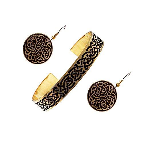 Handcrafted ottone inciso, Celtic Knot, di modo rotondo orecchini BRACCIALI Set