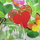 Lot de 50pcs Carte de Verre Marque Place Forme de Coeur Décoration de Table - Rouge