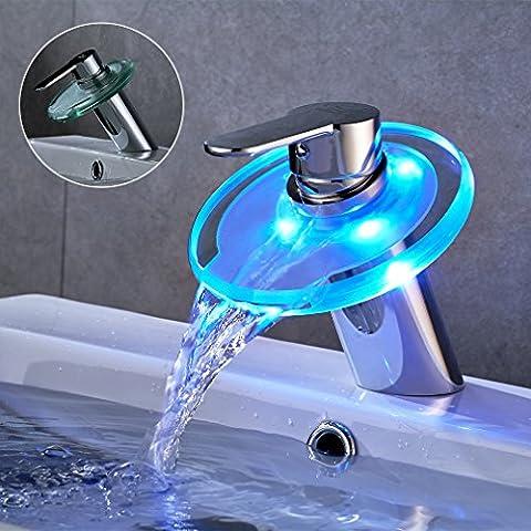 Auralum® Romantique Robinets de Lavabo Lumières LED, Robinet Cascade Verre