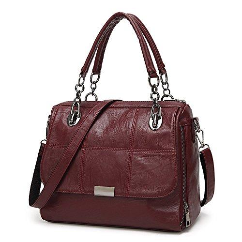 Frauen Leder Handtaschen Damen Designer Henkeltaschen Mädchen Schulter Crossbody Messenger Taschen Top-Griff Taschen Umhängetaschen - Burgund (Mädchen Crossbody-tasche)