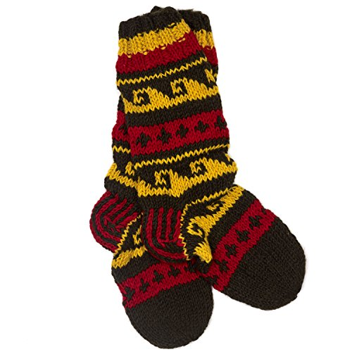 Funky Hand Knitted Winter Woollen Annapurna Socks - Red & Yellow