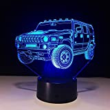 IAGM 3D LED Nachtlicht Lampe Off-Road Auto Kreative Geschenk Touch 7 Farbe Verfärbung USB Acryl Board Visual Lampe