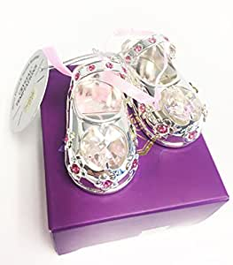 Lesser and Pavey - Little Treats Silver Plated Crystal Baby Shoes (Pink)