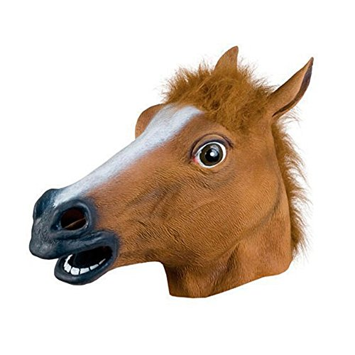 NAttnJf Novedad Animal Caballo Cabeza máscara Disfraz Halloween Cosplay Fiesta Prop Juguete Regalo marrón