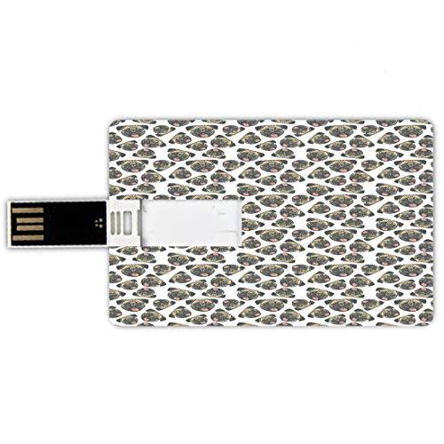 USB-Sticks 8GB Kreditkartenform Mops Memory Stick-Bankkartenstil Fröhlich verspielte Tiere Hundeköpfe mit Zungen heraus und Grunge-Effekt,Beige Charcoal Grey Coral, Wasserdichte stift daumen schöne ju -