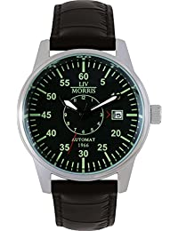 LIV MORRIS 610098076322 - Reloj para hombres, correa de cuero color negro