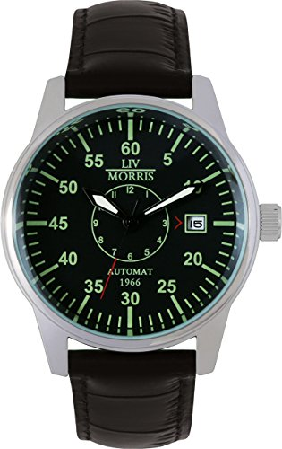 LIV MORRIS 1966 Automatik Fliegeruhr LÜBECK mechanische Herren-Armbanduhr nachtleuchtend Lederarmband Edelstahl-Glasboden