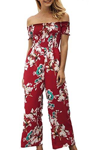 ECOWISH Jumpsuit Damen Sommer Hosenanzug Strand Blumen Trägerlos Overall Spielanzug Rot L (Polyester-jumpsuit)