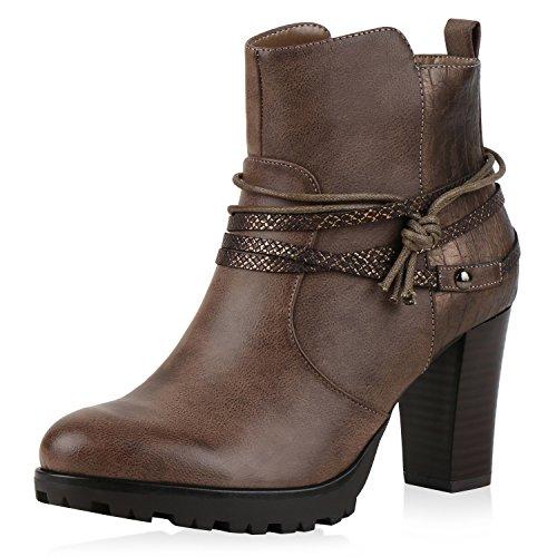 SCARPE VITA Gefütterte Ankle Boots Damen Nieten Prints Stiefeletten Absatz 165722 Khaki 39