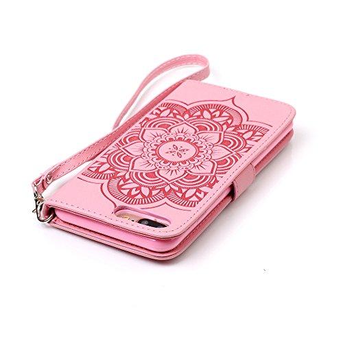 Voguecase Pour Apple iPhone 7 Plus Coque, Etui Housse Cuir Portefeuille Case Cover (Papillon IV--Diamant-Rose)de Gratuit stylet l'écran aléatoire universelle Campanula fleur-Diamant-Pink