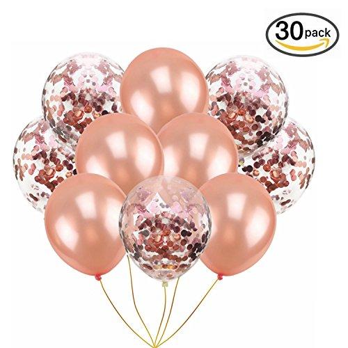 Alxcio Konfetti Ballons Helium Luftballons 20 Roségold Pailletten Ballons + 10 Roségold Latex Ballons für Hochzeit, Graduierung, Vorschlag, Festival, Geburtstag Party Dekorationen