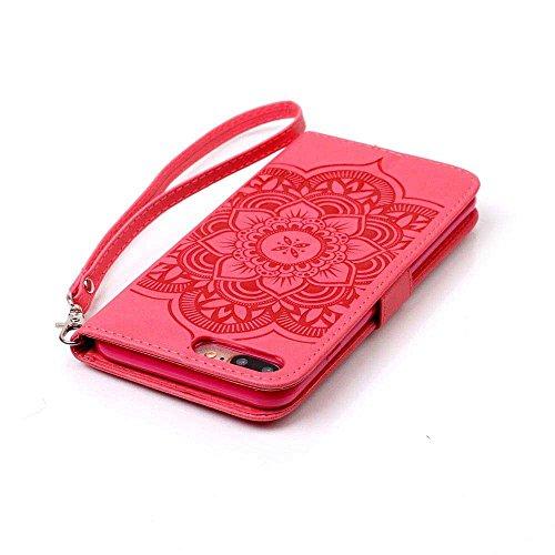 iPhone 7 Plus Coque ( Noir ), Bling Cristal Strass Cuir Etui Rabat Style Portefeuille Case Avec Carte Slots pour Apple iPhone 7 Plus 5.5 inch Avec Windbell Embossage Motif rouge