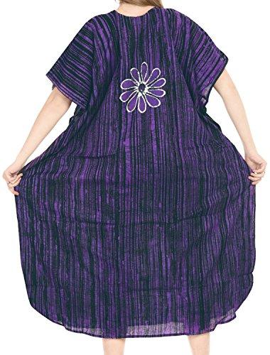 La Leela lose Abdeckung bis maxi langen Strandabnutzungs Puffärmeln Kleid Kaftan aus Baumwolle mit V-Ausschnitt Kleid Lila 3