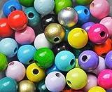 35 Rundperlen Holzperlen 10 mm zum Fädeln geeignet für Schnullerketten u.v.m. bunter Farbmix
