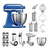 KitchenAid Küchenmaschine Mini, 5KSM3311XE, Bestseller Paket inkl. TOP Zubehör: Gemüseschneider, Fleischwolf, Spiralschneider, Nudelvorsatz, Spritzgebäckvorsatz und Standardzubehör (Twilight Blue)