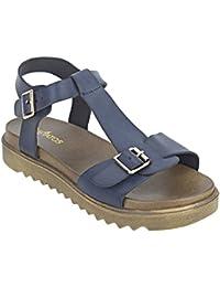 Etashee Faux Leather Open Toe T Strap Buckle Closure Brown Platform Heel Navy Blue Sandals For Women