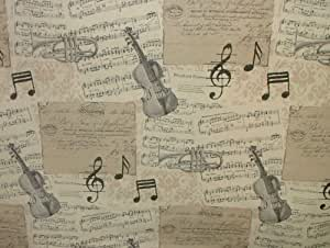 Classical Musical Notes Cotton Designer Curtain Upholstery Fabric - Sold By The Metre by Pandoras Upholstery