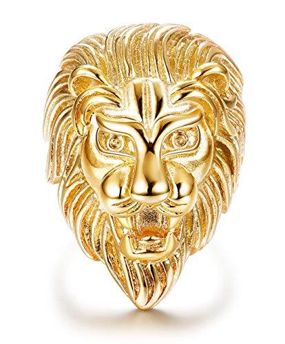 sailimue Bijoux Acier Inoxydable Bague Homme Garçon Tête de Lion Couleur Or 54.5-70
