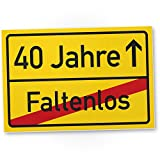 DankeDir! 40 Jahre (Faltenlos) Ortsschild - Kunststoff Schild, Geschenk 40. Geburtstag, Geschenkidee Geburtstagsgeschenk Vierzigsten, Geburtstagsdeko/Partydeko / Party Zubehör/Geburtstagskarte