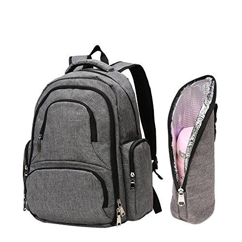 BISON DENIM Baby Wickelrucksack Wickeltasche mit Wickelunterlage Multifunktional Babytasche Canvas Kein Formaldehyd Reisetasche für Unterwegs