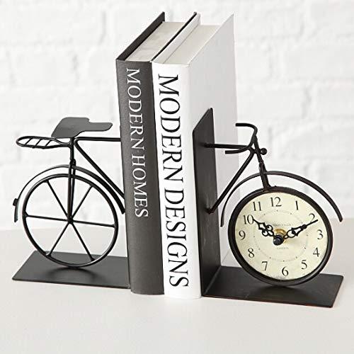 B.H.C. Orologio da Tavolo Bicicletta Come Supporto per Libri in Stile Vintage, Modello: Bicycle, Materiale: Metallo Pieno, 22 x 16 cm, Colore Marrone Antico, per Una Bella casa.