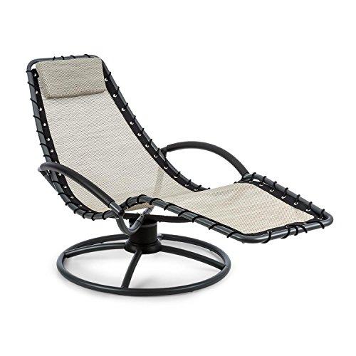 Blumfeldt the chiller • sedia a dondolo • sedia da giardino • lettino • sdraio • pulizia facile • resistente alle intemperie • movimento oscillante a 360° • comfortmesh • acciaio tubolare • beige