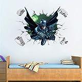 Effet 3D Cassé Batman Stickers Muraux Pour Enfants Chambres Décor Cartoon Héros Stickers Muraux Art Diy Murale Amovible Pvc Affiche Garçon Cadeau 50 * 70 Cm