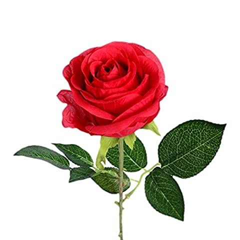 TININNA 5 Stück Silk Künstliche Rose Blumen Kunstblumen Künstlicher Blumenstrauß Brautstrauß Hochzeit Rot