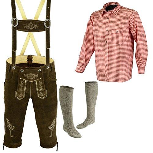 Speed4allkinds Herren Trachten Lederhose Größe 46-62 Trachten Set,Hose,Hemd,Socken Neu (Lederhose 50 Rotes Hemd L Socken 43)