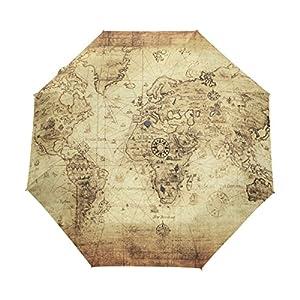 bennigiry antiguo vintage mapa del mundo 3Folds Auto Abrir Cerrar paraguas compacto de viento portátil durabilidad viaje lluvia paraguas fácil de llevar