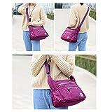 Leisure Women Waterproof Nylon Messenger Bags Cross Body Shoulder Bags Casual Multi Pocket Handbag Tote Purse Handbag (Purple)
