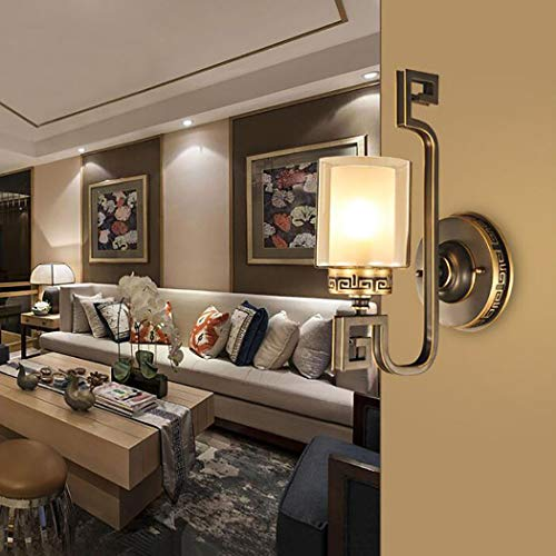 Klassische Glasschirm Wandleuchte, Gold Kupfer Badezimmer Vanity Wandleuchte, LED 1-Licht Wandleuchten für Schlafzimmer Wohnzimmer Esszimmer Foyers Küche,Black -